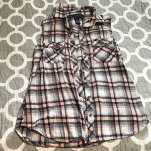 FLANNEL BUTTON-DOWN TANK TOP